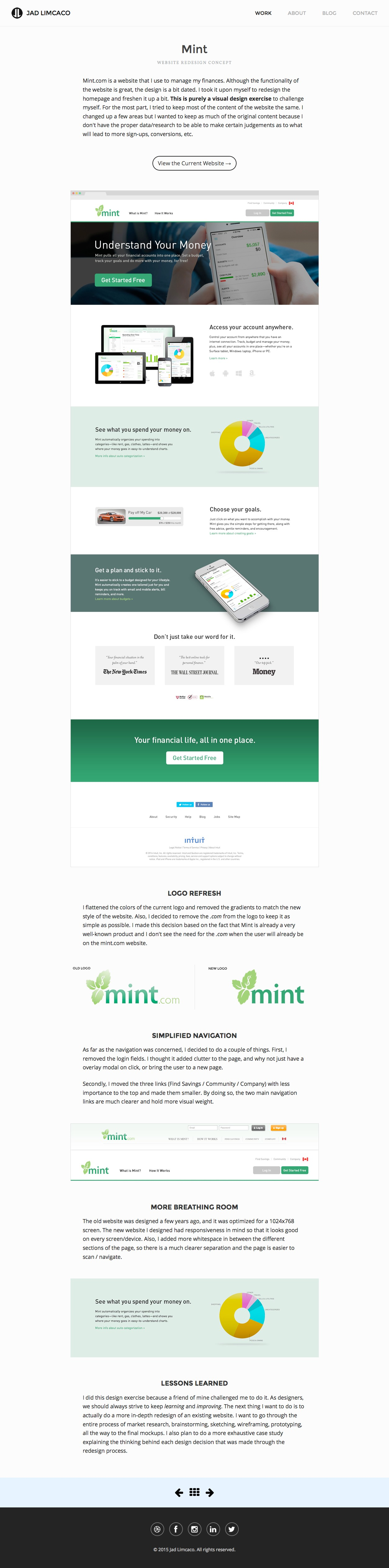 The Project: Mint Website Redesign Concept on Jad Limcaco's portfolio website
